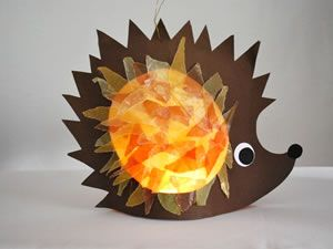 Hedgehog with contact paper tissue activity #crafts #hedgehog #kids