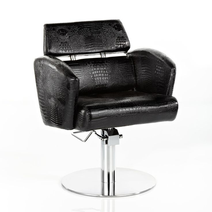Imitation snakeskin effect black fabric, with chrome round base.H: 820mm - 97mm (adjustable height hydraulic base)W: 640mmD: 540mmSeat Height: 470mm - 620mm