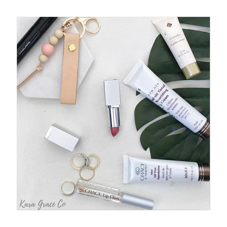 All my make up essentials- natural. Organic, aloe vera based. Grace cosmetics