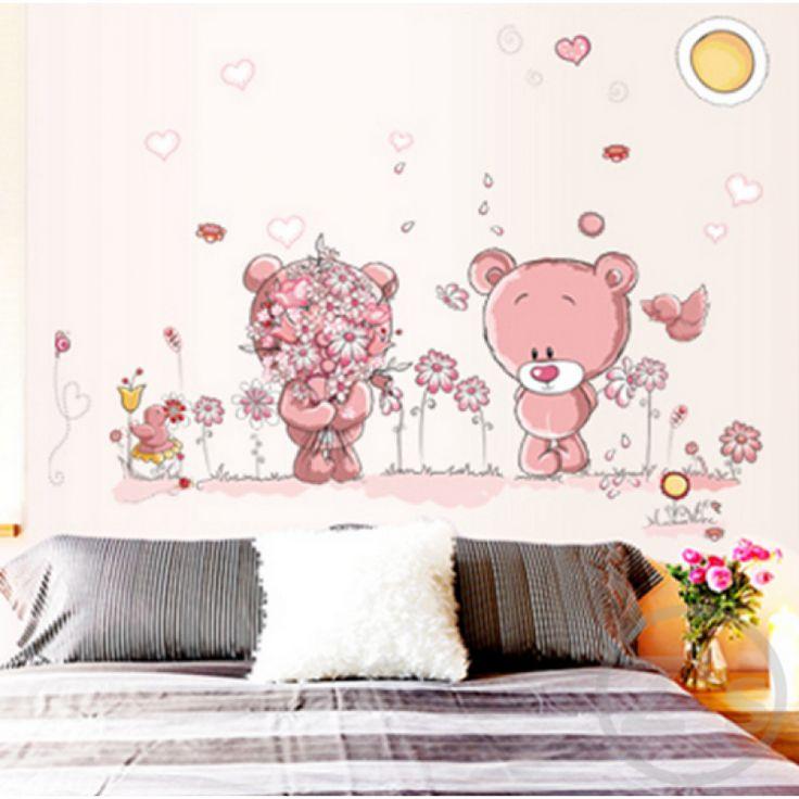 Falmatrica, rózsaszín maci kislány, maci kisfiú virágokkal