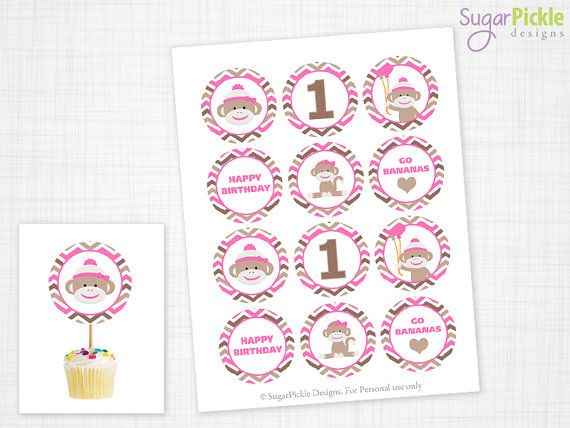 Sock Monkey Cupcake Toppers, 1st Birthday, Pink Sock Monkey Birthday Toppers, Sock Monkey Toppers, Sock Monkey Party Decorations - 2.25 inch