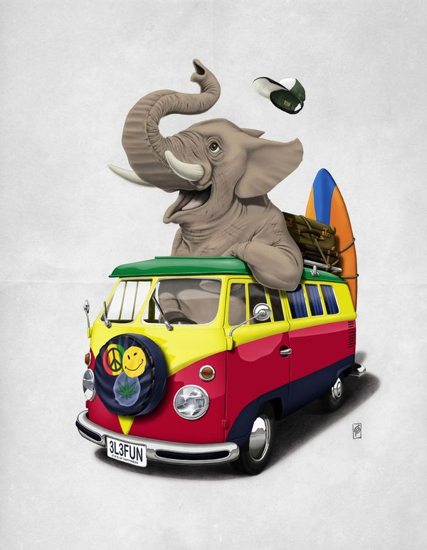 Pack the Trunk (Wordless) art | decor | wall art | inspiration | animals | home decor | idea | humor | gifts