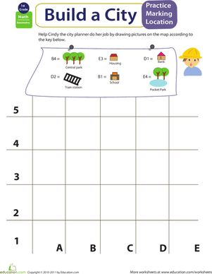 First Grade Geometry Worksheets: Mapping Coordinates: Build a City