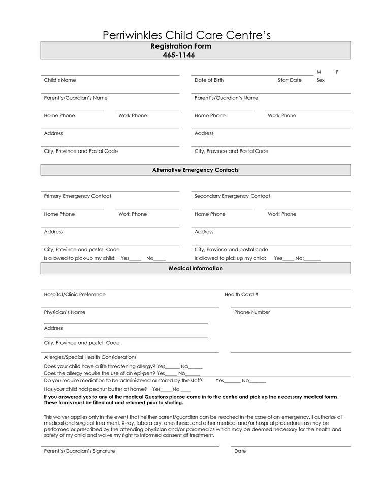 Freeprintabledaycareregistrationforms daycare forms