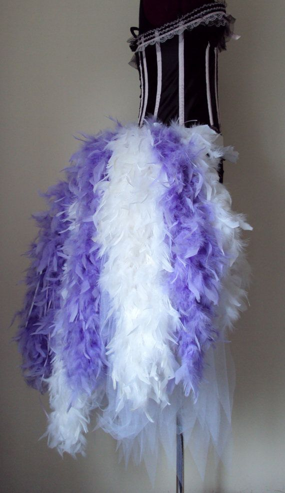 Beautiful Burlesque Long Length Bustle Belt Made From Tulle Feathers Ribbon And Lace Trimming