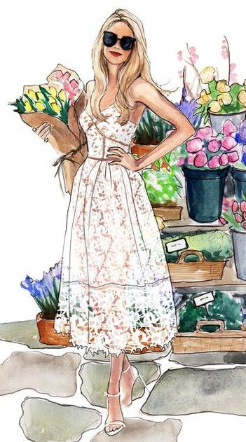 The perfect look for a summer day shopping at le Marche aux Fleurs et aux Oiseuax in Paris  - illustration by Inslee Haynes