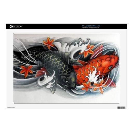 red black gold Japanese Koi Fish tattoo Skins For Laptops