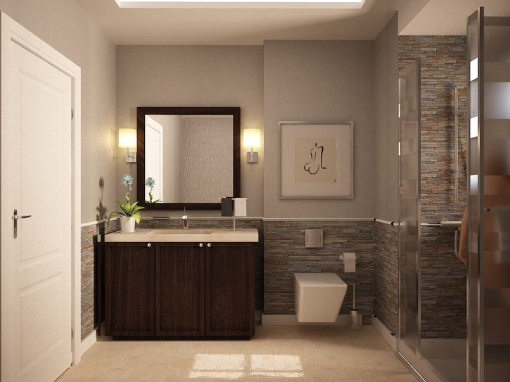 Bathroom. gray wall paint plus brown stone tile also square mirror and lamps plus dark brown wooden vanity with cream counter top placed on the cream floor. Stunning Color Ideas For Small Bathrooms Perfecting Your House