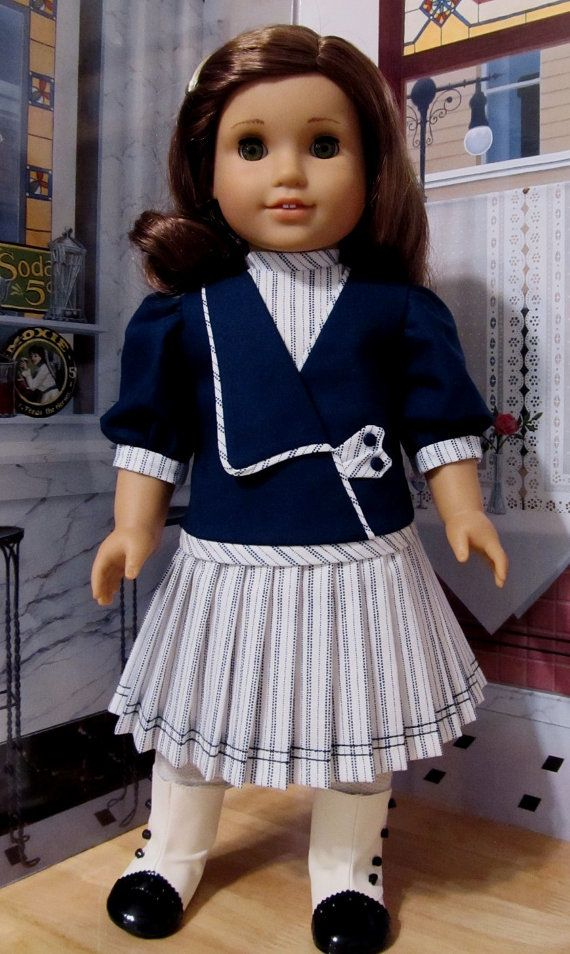 An Original Keepers Design! www.KeepersDollyDuds.com $94.49    Miss Rebecca proudly models this cotton spring frock in a classic navy and white