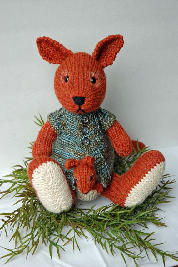 Knitted Kangaroo Toy with Baby Joey Finger Puppet Baby joey, Finger puppets...