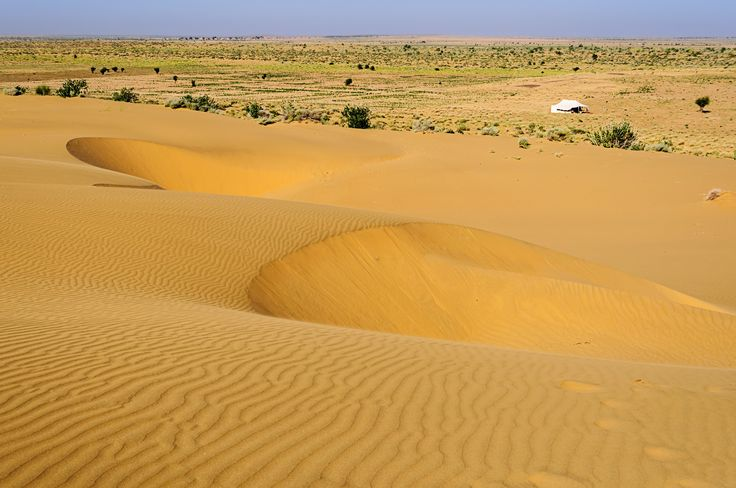 Sand dunes, white tent, SAM dunes of Thar Desert of India with copy space - Sand…