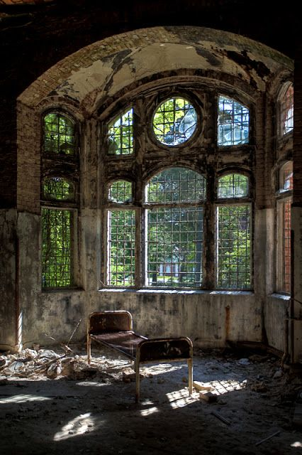 Beelitz Heilstätten, an abandoned military hospital in Berlin.  The bed was obviously moved but still, it's hauntingly beautiful.