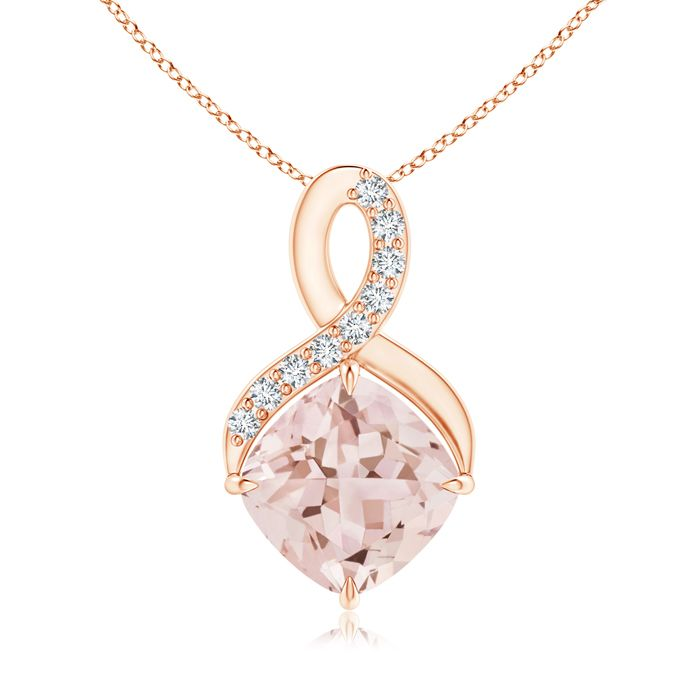 Angara Claw-Set Morganite Drop Pendant with Trio Diamonds KKz34HD