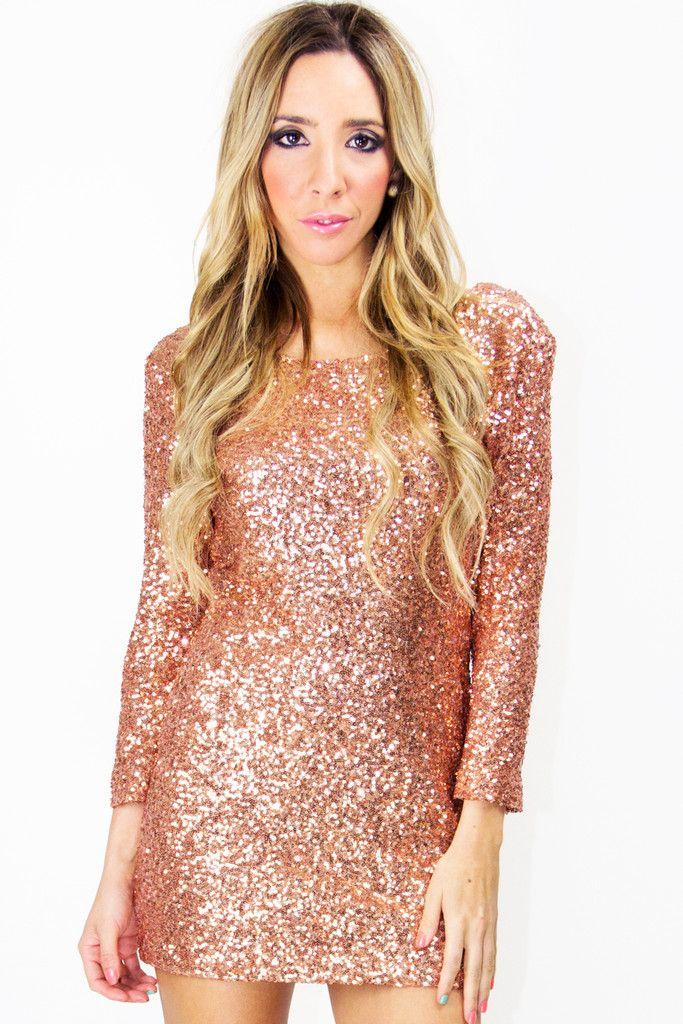 copper sequin dress w. low vback  GIMME NOW.  dba84a0ea