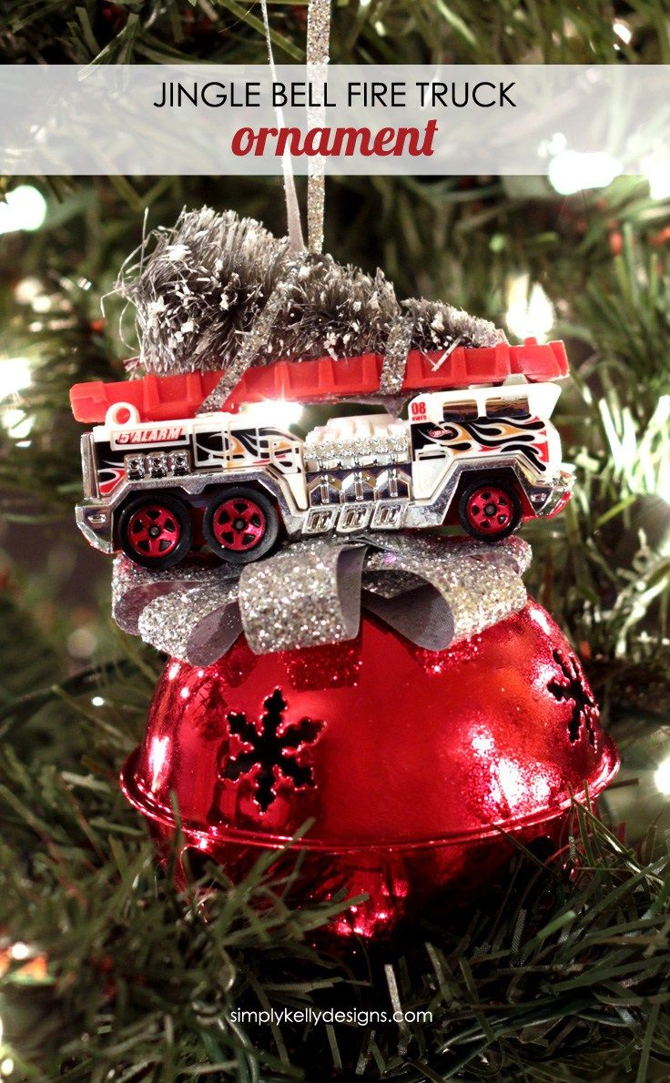 Personalized firefighter ornaments - Create This Diy Jingle Bell Fire Truck Ornament For A Fire Fighter Or To Add Some