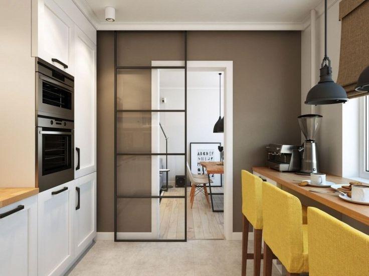peinture couleur taupe porte coulissante en verre transparent meubles de cuisine blanc laqu et - Cuisine Blanc Et Taupe