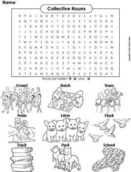 Collective Nouns Worksheet/ Word Search Coloring Sheet