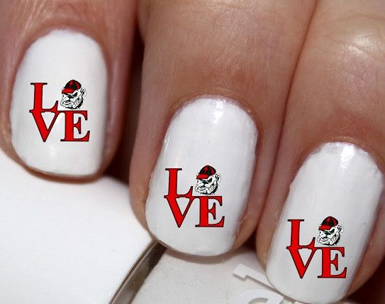 20 pc Georgia Bulldogs Football I Love Football Nail Art #cg0na51