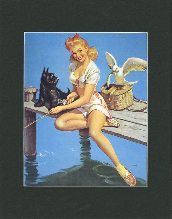 Gil Elvgren Matted Vintage Print Catch On c. by VintageAdWorld