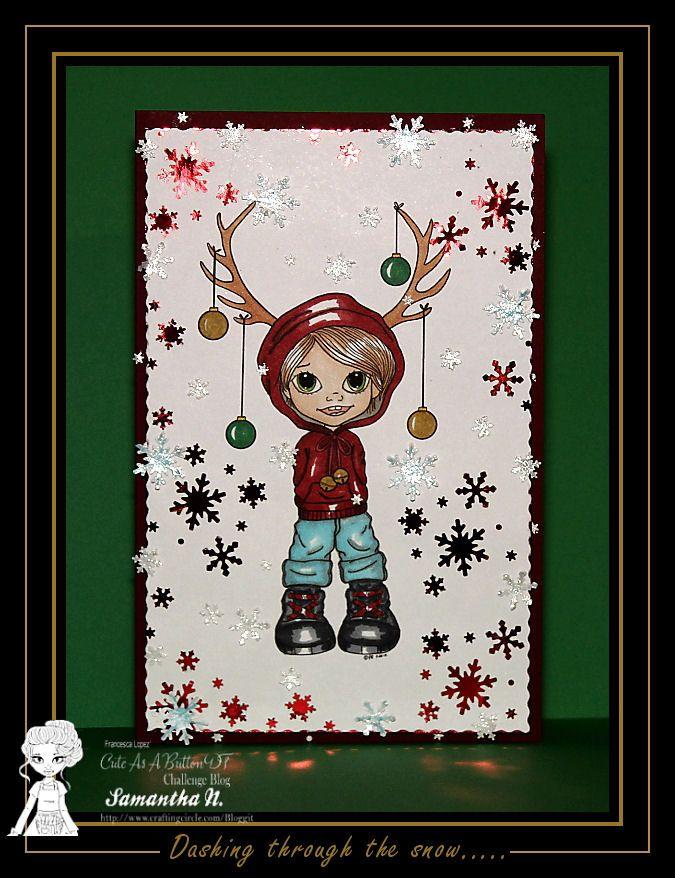 Cute As A Button  - Reindeer Ears