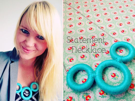 This DIY statement necklace features something you will find in (almost) every thrift store: wooden curtain rings! ~ I wonder if you could do this with plastic shower rings?
