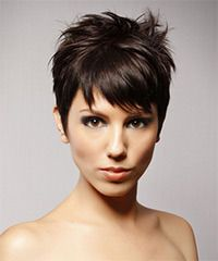 The back and sides of this short fancy 'do is tapered into the head for shape, blending into the top layers that are jagged cut or razor cut to achieve a textured style that is easy to style with a little product. This exciting hairstyle is best suited to compliment a round face and will need regular trims every 4-6 weeks to maintain shape.