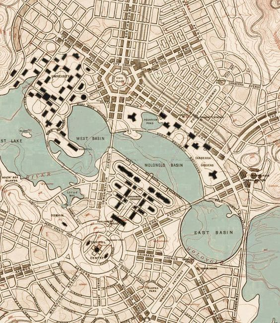 Vintage Map of Canberra City , Australia Oceania 1918: