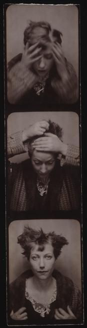 Photo booth/photomaton shots of Marie-Berthe Aurenche, Max Ernst's second wife, c.1929. She would later become the mistress of artist Chaim Soutine, and she was buried with him after her suicide in 1960. Not much else is known about her life, which makes these images all the more haunting.