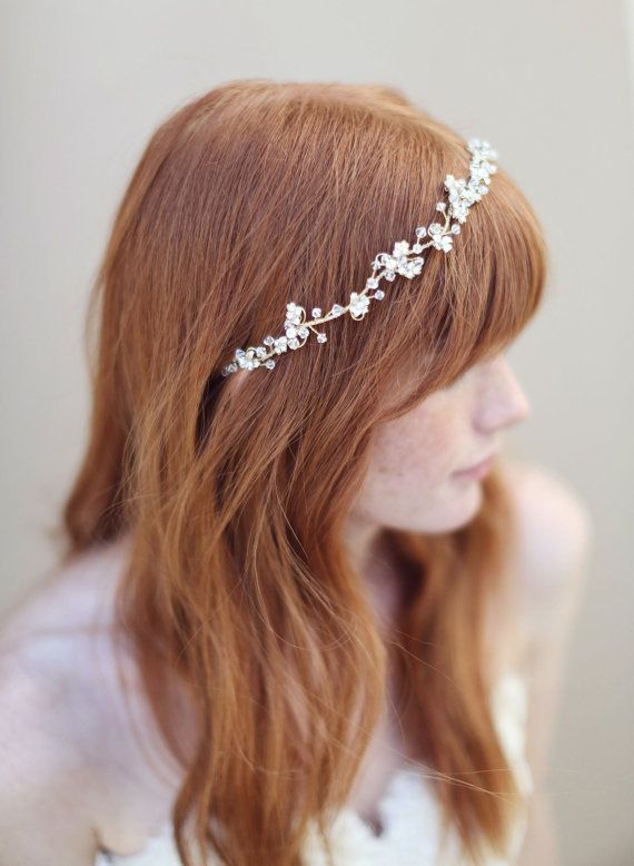 Bridal hair vine headband gold and crystal  Enchanted от myrakim, $190.00