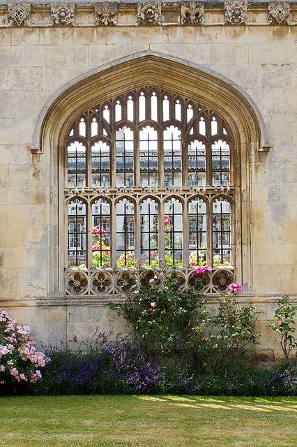 Gorgeous King's College window, University of Cambridge, Cambridgeshire, England, UK