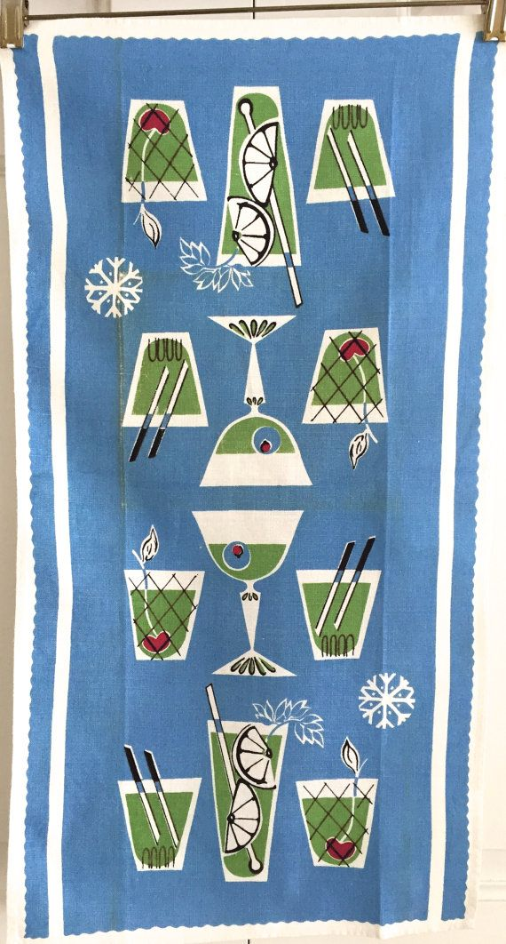 Fun, rarely seen mid century bar towel with a variety of cocktail glasses.