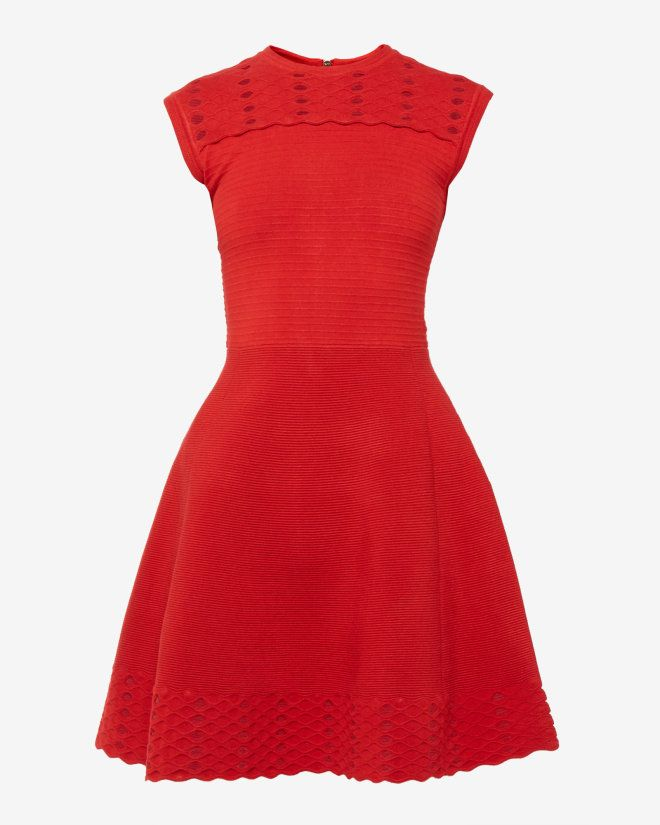 Jacquard cut-out dress - Bright Red | Dresses | Ted Baker SEU