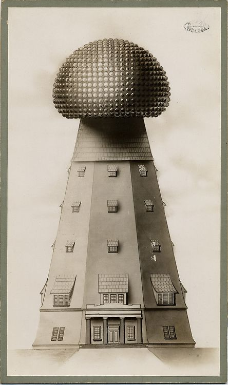 Illustration of the Tesla Tower on Long Island in New York. Also known as Wardenclyffe Tower, it began construction in 1901 as an early wireless transmission tower designed by Nikola Tesla