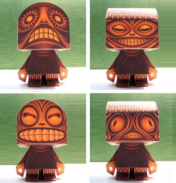 Pail Head Pal Quadranok Ancient Deity Paper Toy - by Macula - == - By North American designer Christopher Bonnette, from Macula.Tv website, here is the Pail Head Pal Quadranok Monster Paper Toy. Bonette says that Quadranok is a four headed deity from regions unknown. He has been worshiped, and feared for centuries. The collected data from many archaeologist still can not distinguish if Quadranok is Polynesian, Aztec, Aboriginal, or African. Let alone if it is male of female.