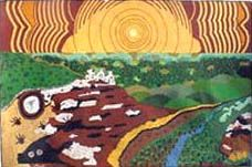 "Len Cunningham, Worimi Australian Aboriginal artist, Painting, ""Spiritual Lands"" 35"" x 24"""