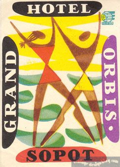Orbis (Poland) Grand Hotel Sopot -vintage travel beach poster #labels #beach www.varaldocosmetica.it/en