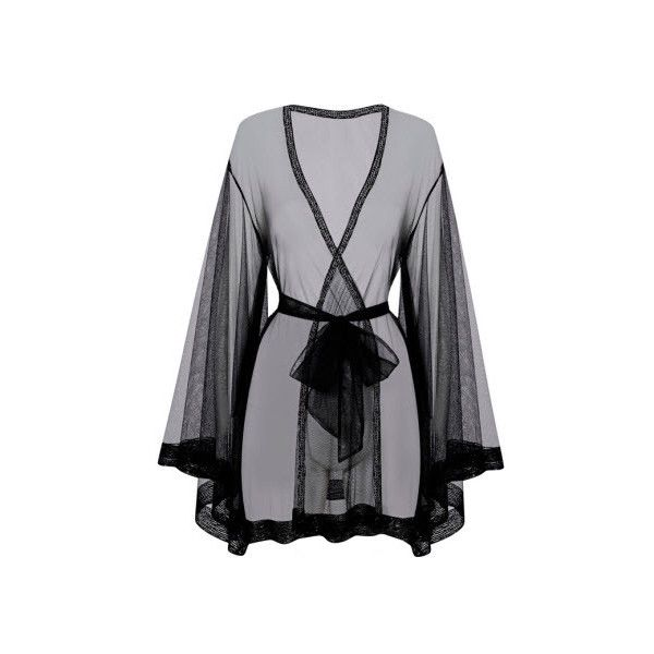 Agent Provocateur Di-Di Kimono Black (£95) ❤ liked on Polyvore featuring intimates, robes, gowns & kimonos, kimono, nightwear, black sheer kimono, agent provocateur, sheer kimono and black kimono