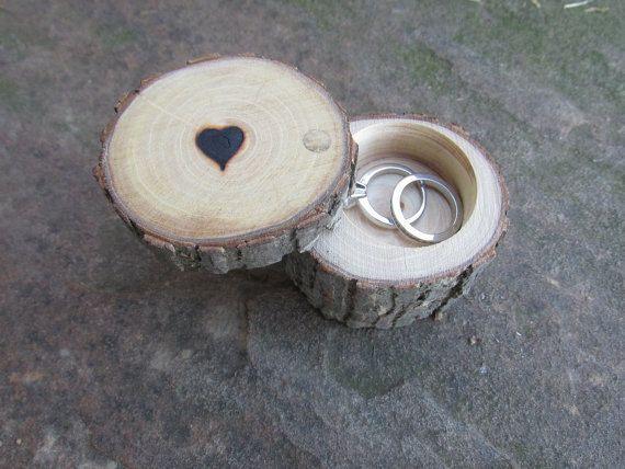 Personalizada anillo de boda caja de anillo de por Trees2Art