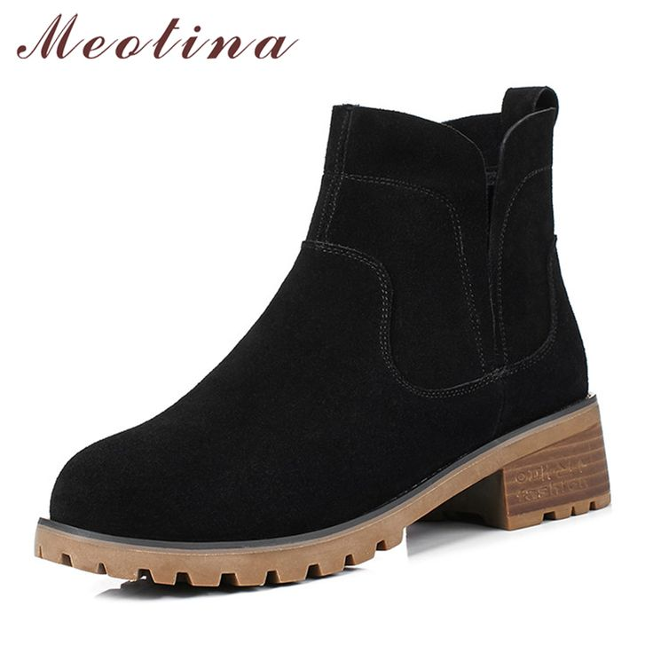 Meotina Women Ankle Boots Low Heels Casual Female Short Boots Size 34-40 Ladies Chelsea Boots Block Heel Female Autumn Shoes New #Affiliate
