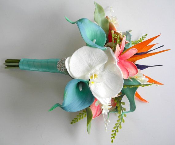 Beach Bridal Bouquet in Coral Aqua Green and by BlueLilyBridal