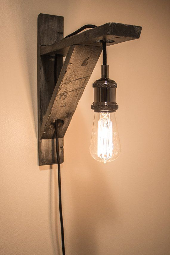 Distressed Wood Pendant Light Wall Mount W Braided Cord And Antique Lightbulb Wood Pendant Light Rustic Wall Lighting Plug In Pendant Light