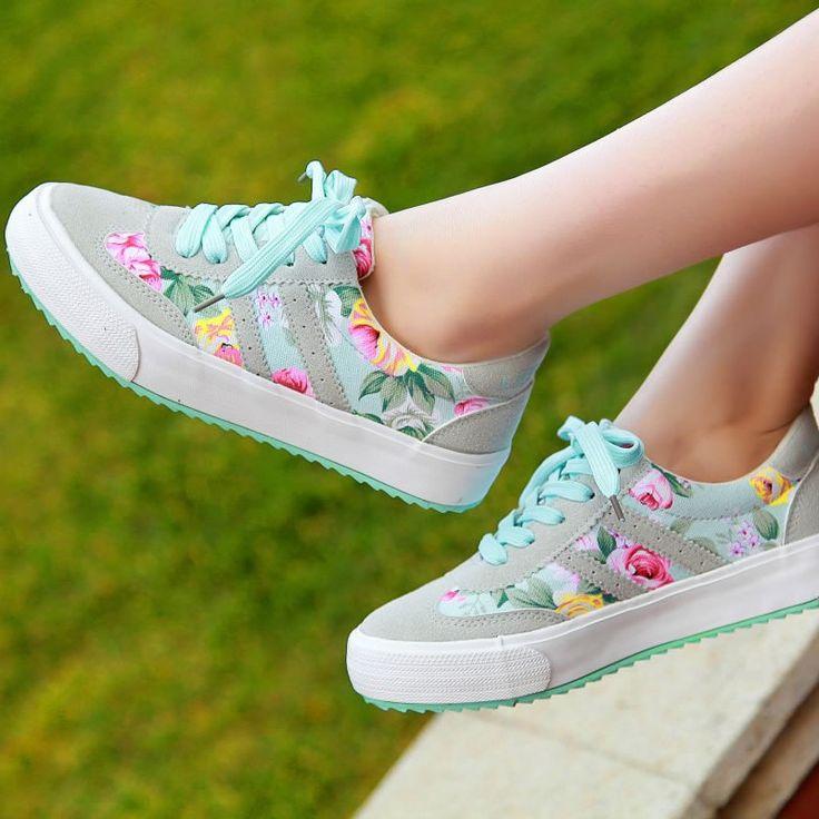 Cheap Moda casual zapatos para mujeres zapatos mujer zapatos casuales  mujeres los zapatos de lona impresa