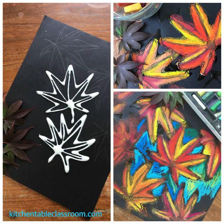 Draw a leaf with chalk and glue