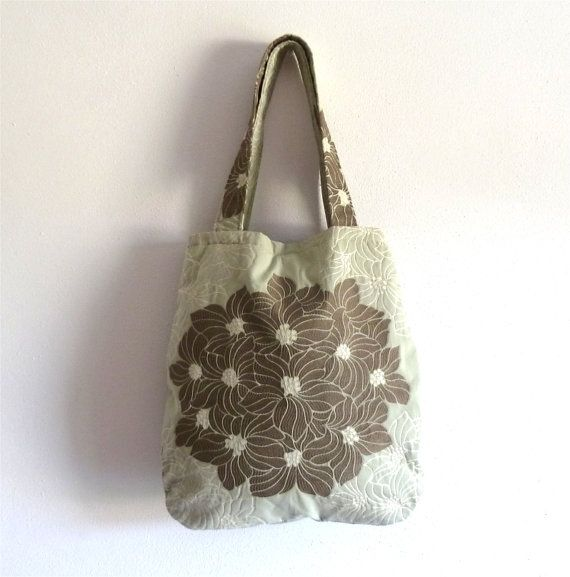 OOAK Olive green Tote bag, upholstery cotton bag, floral bag, fabric tote bag, romantic bag, bouquet bag