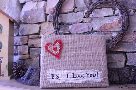 Photo Burlap Mini Bulletin Board Valentine's Day  by CrafTeaCafe, $15.00