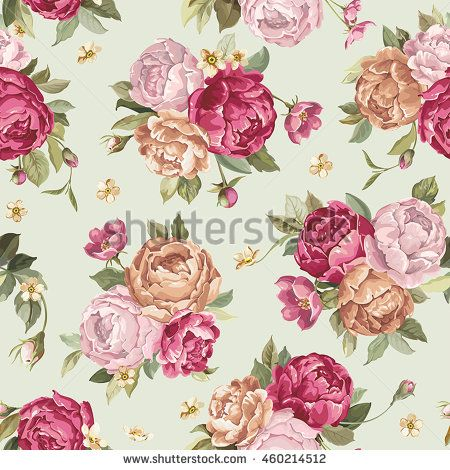 Elegance seamless pattern with flowers peony, eps8