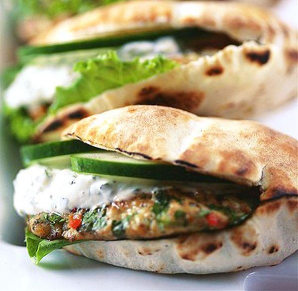 Spiced Chicken Burger with Mint Greek Yogurt by shopsweetthings #Burger #Chicken #Greek #Mint #Yogurt