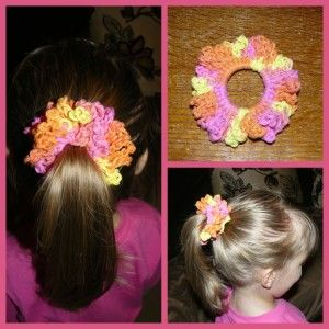 My little granddaughter loves to have fancy things for her hair. I came across this crochet pattern for a hair scrunchie and knew she would love to have them. I have made several and she just loves...
