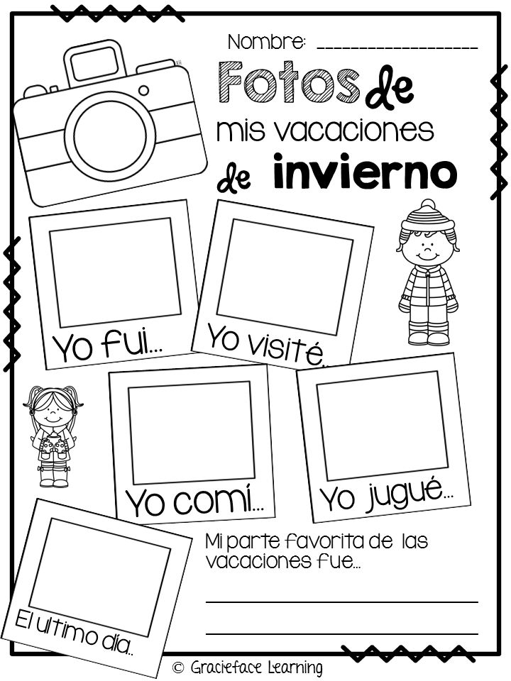 What I did during vacation - you can use writing, photos or drawings to complete this free activity from Teachers pay Teachers. Mis vacaciones de invierno (Bitty Bilinguals) http://bittybilinguals.blogspot.com/2014/01/snowpocalypse-2014.html http://www.teacherspayteachers.com/Product/Las-fotos-de-mis-vacaciones-de-invierno-Freebie-1045694