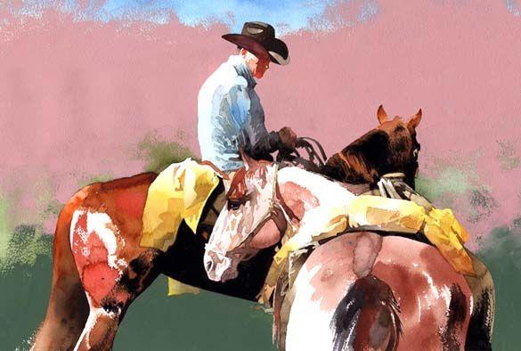 """Западная художник и """"Вдумчивый всадник,"""" живописца Дона Веллера оригинальная акварель западное искусство живопись ковбой верхом на лошади, д ..."""